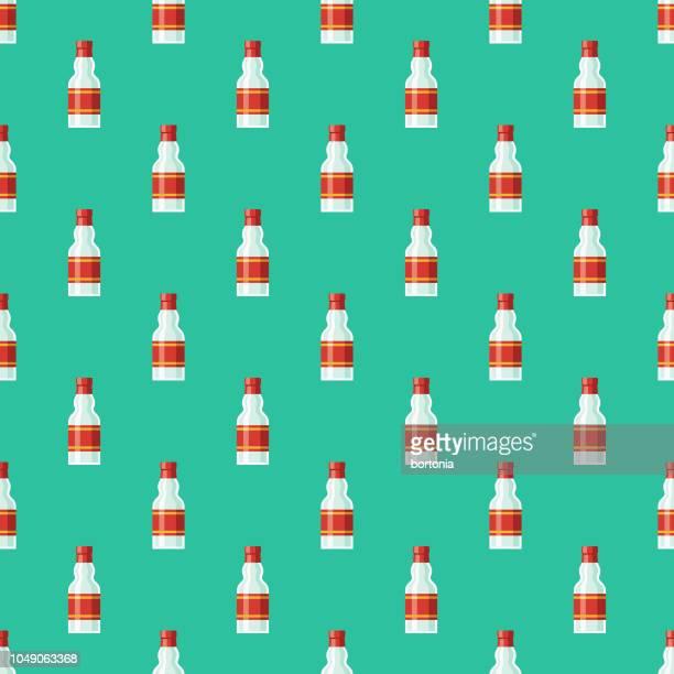 russian vodka seamless pattern - vodka stock illustrations, clip art, cartoons, & icons