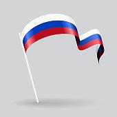 Russian wavy flag. Vector illustration.