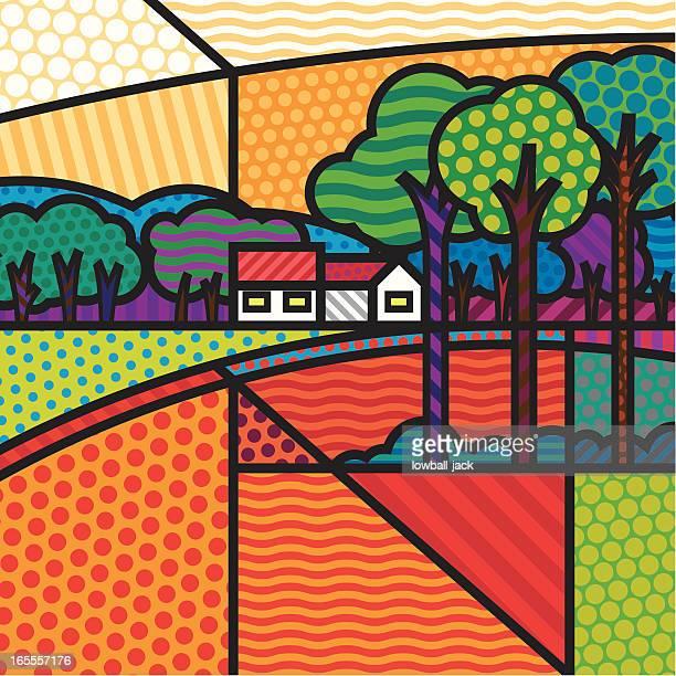 ilustraciones, imágenes clip art, dibujos animados e iconos de stock de paisaje de óxido - granja