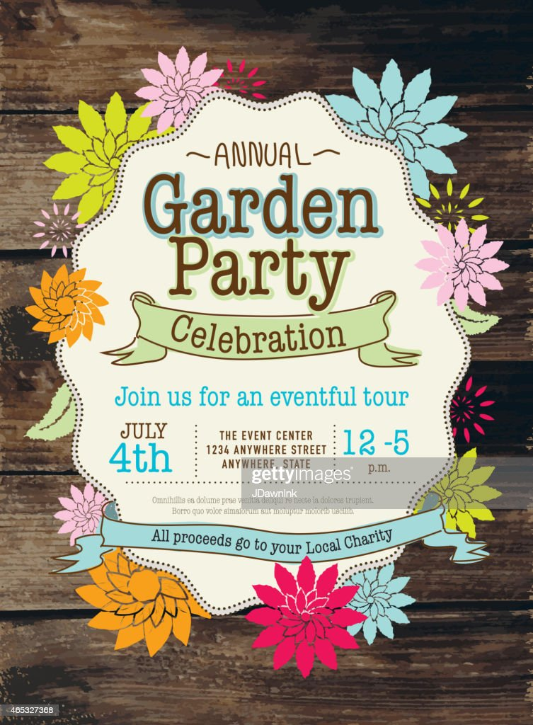 Rustic And Colorful Spring Garden Party Invitation Design Template ...