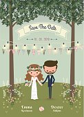 Rustic bohemian cartoon couple wedding invitation card in the forest