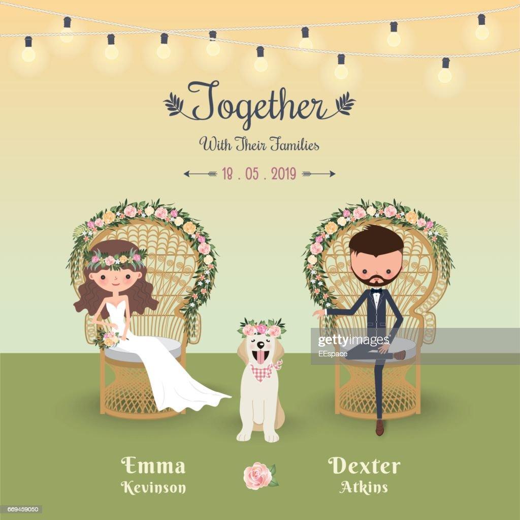 Rustic bohemian cartoon couple wedding invitation card with dog