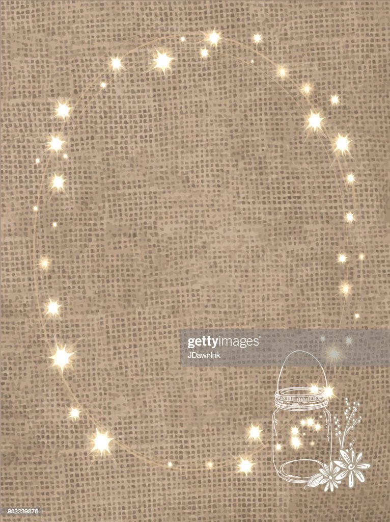 Rustic Burlap Background With String Lights And Canning Jar Vector Art