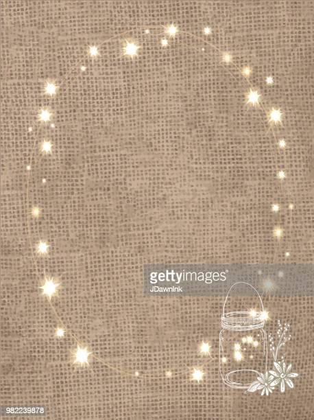 素朴な黄麻布の背景に文字列のライト、缶詰の jar ファイル - 荒い麻布点のイラスト素材/クリップアート素材/マンガ素材/アイコン素材