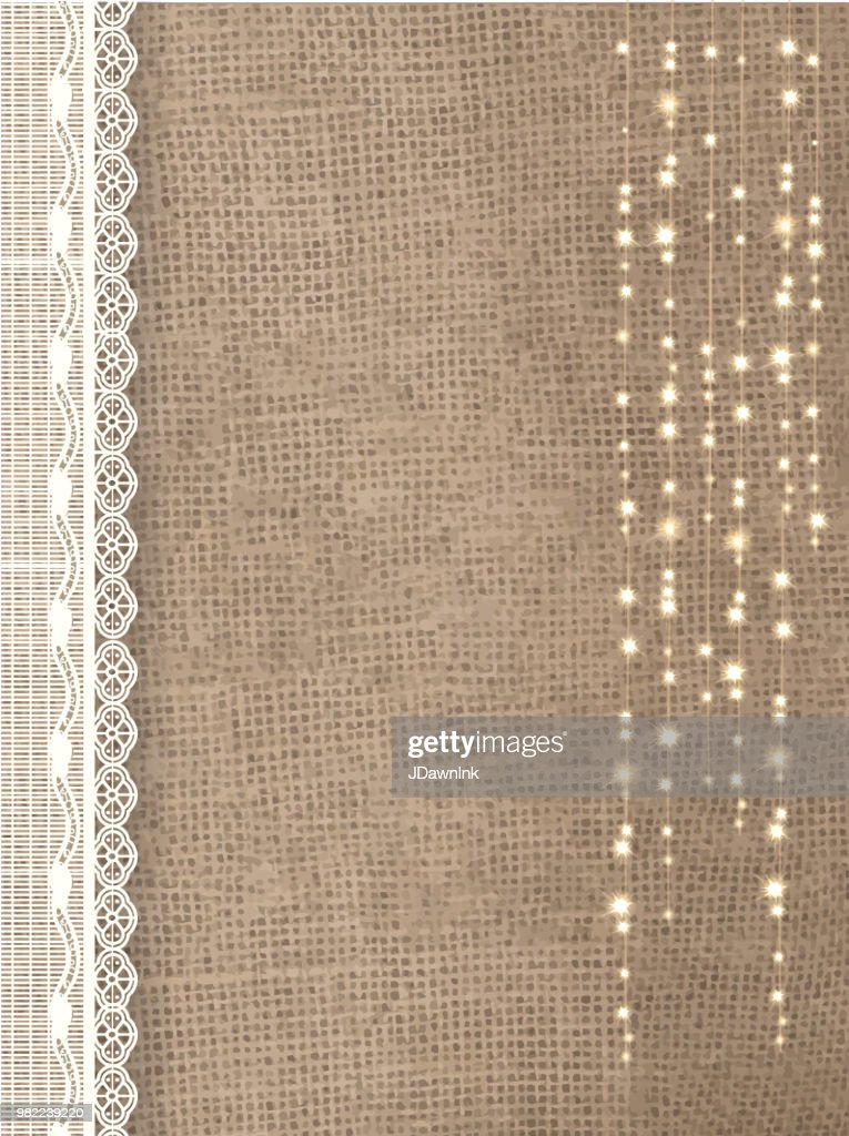 Rustic Burlap Background With String Lights And Lace Vector Art