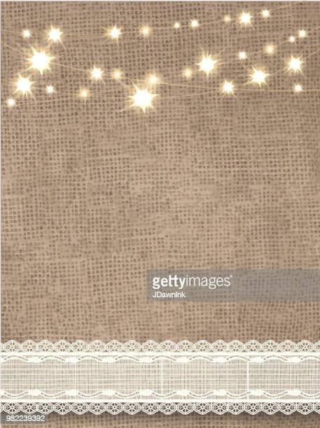 文字列のライトとレースの黄麻布の素朴な背景 - 荒い麻布点のイラスト素材/クリップアート素材/マンガ素材/アイコン素材