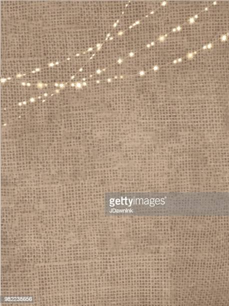 ストリング ライトの黄麻布の素朴な背景 - 荒い麻布点のイラスト素材/クリップアート素材/マンガ素材/アイコン素材