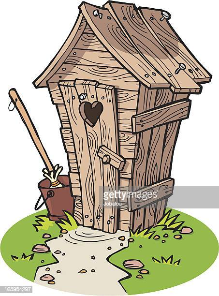 Rustic Cartoon Outhouse