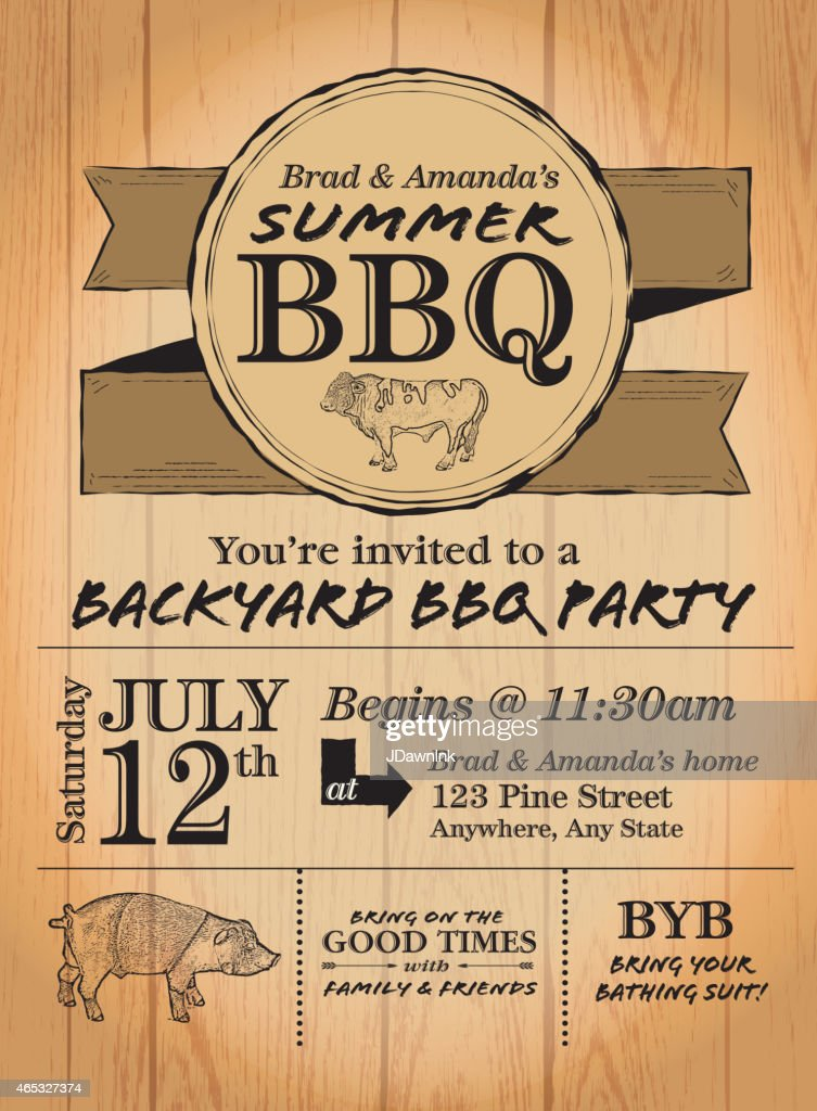 Rustic country bbq invitation design template on wood background rustic country bbq invitation design template on wood background vector art stopboris Image collections