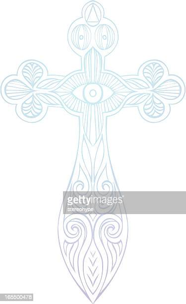 rustic crucifix - st. patrick's cathedral manhattan stock illustrations, clip art, cartoons, & icons