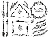 Rustic decorative elements with arrow and lettering.