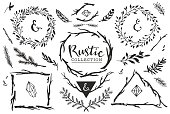 Rustic decorative elements with lettering.