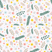Rustic elegant seamless pattern with yellow, blue and orange flowers, green and brown branches. Vector illustration.