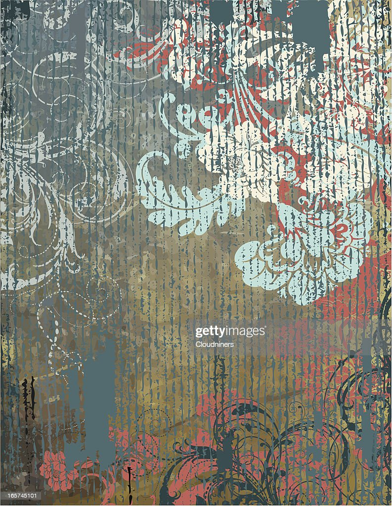 Rustic Floral Background Scrollwork Vector Art