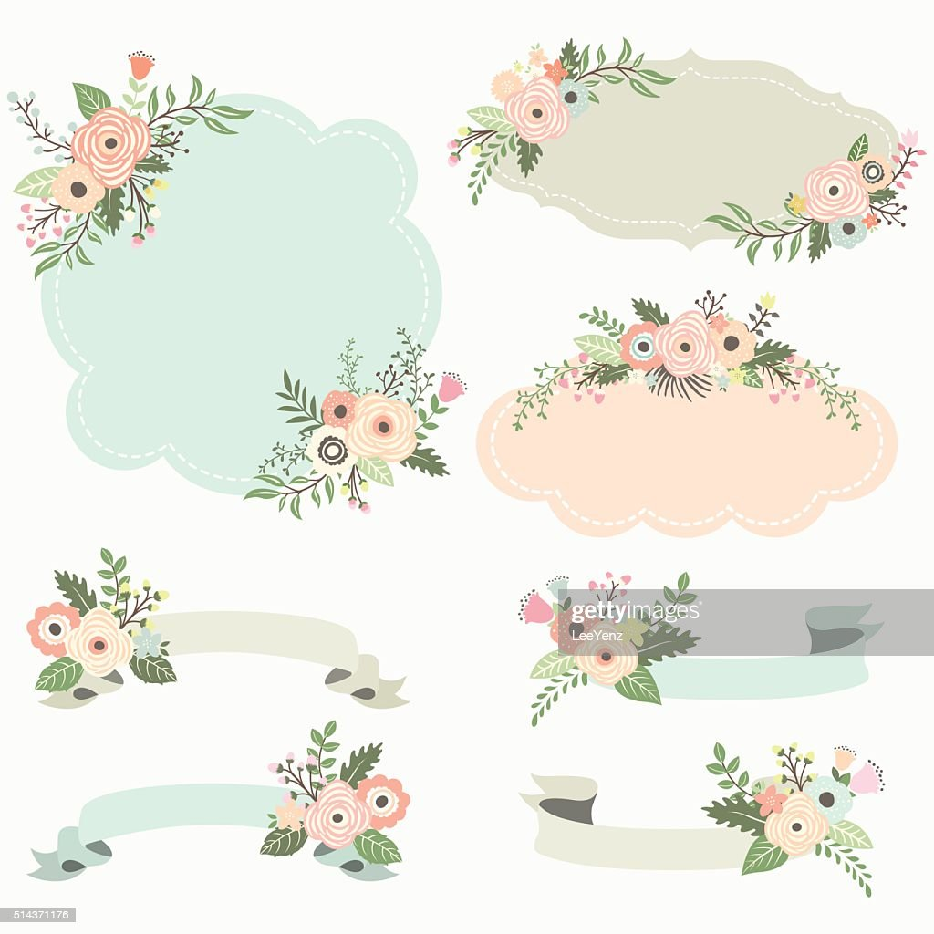 Rustic Floral Frame Elements- Illustration