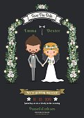 Rustic hipster romantic cartoon couple wedding card