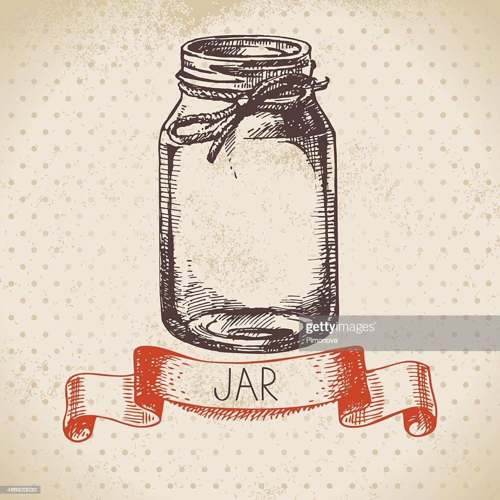 Rustic, mason and canning jar. Vintage hand drawn sketch design.