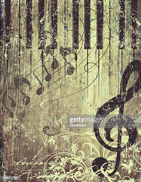 rustic musical page - treble clef stock illustrations, clip art, cartoons, & icons