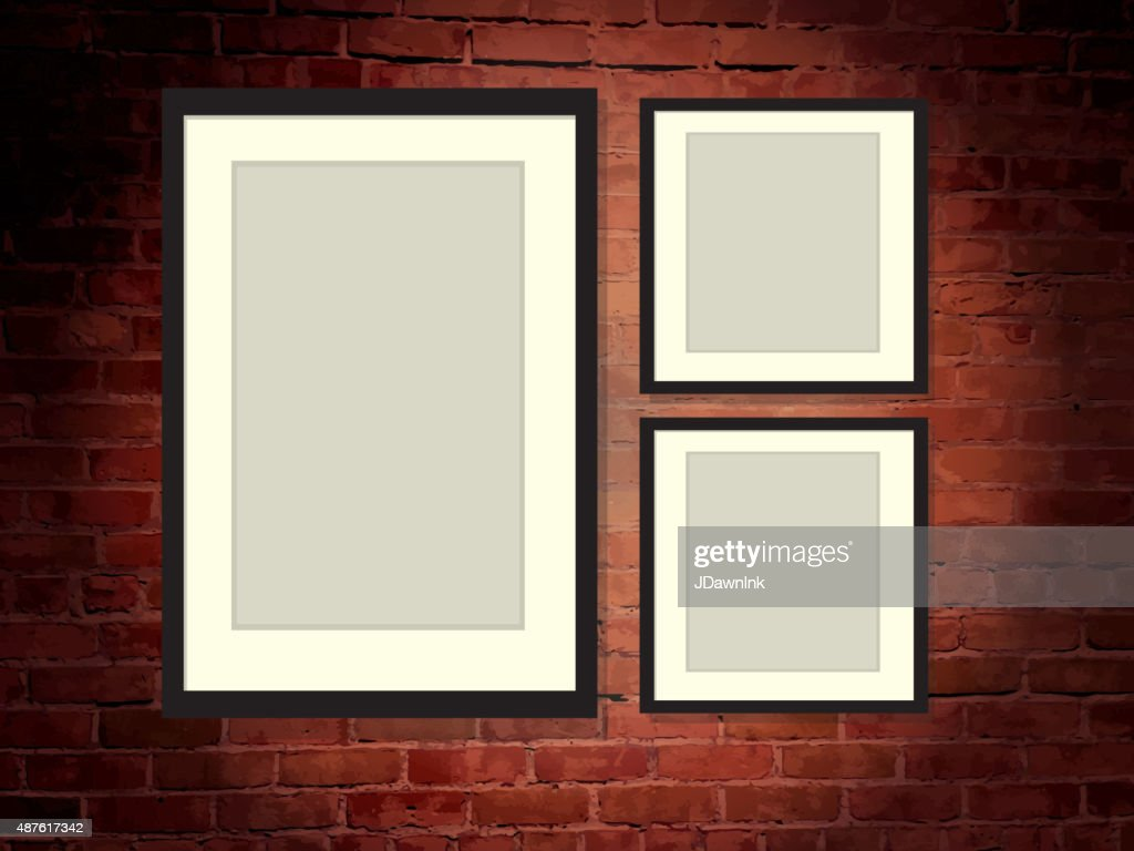 Rustic Old Fashioned Brick Wall Background With Three Blank Frames ...