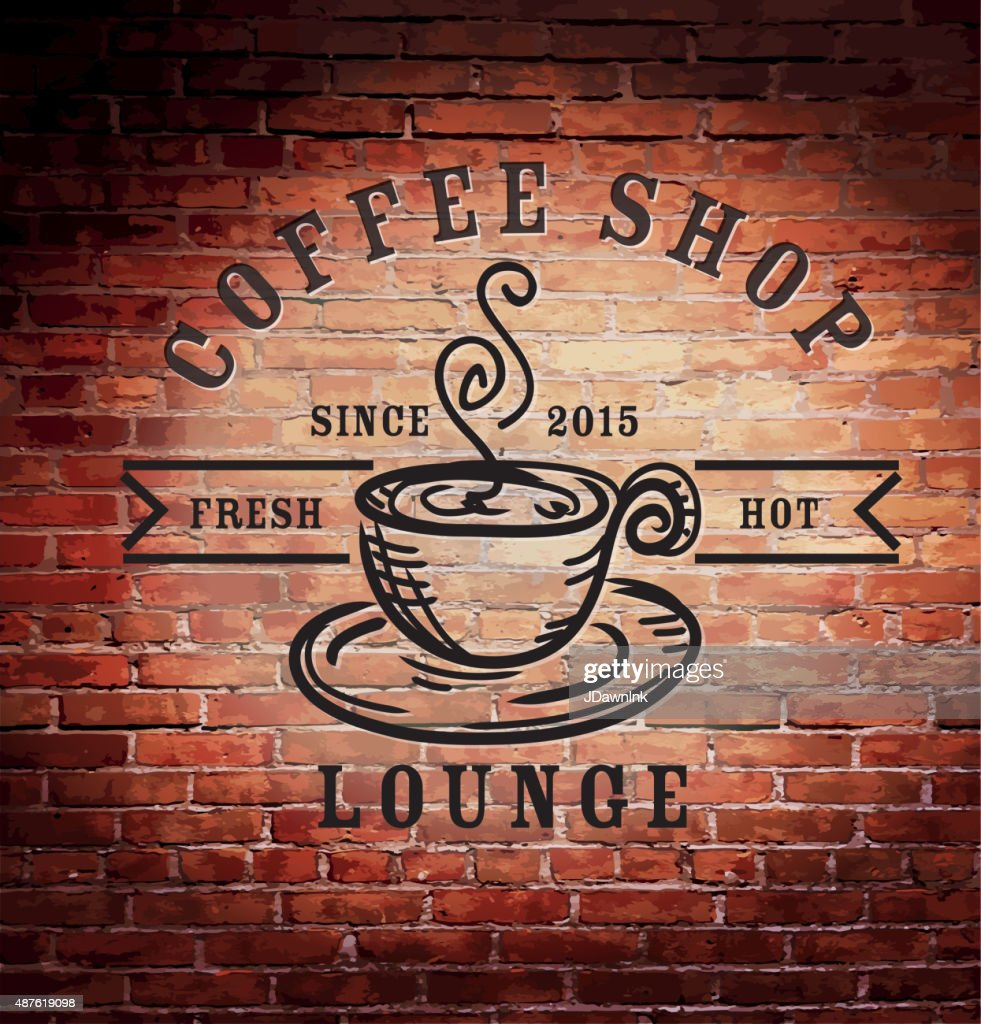 Rustic old fashioned brick wall with coffee shop sign