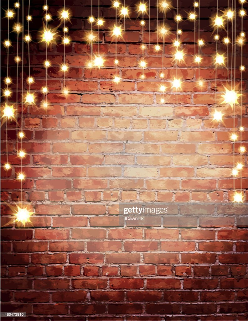 Rustic Old Fashioned Brick Wall With Elegant String Lights Background Vector Art