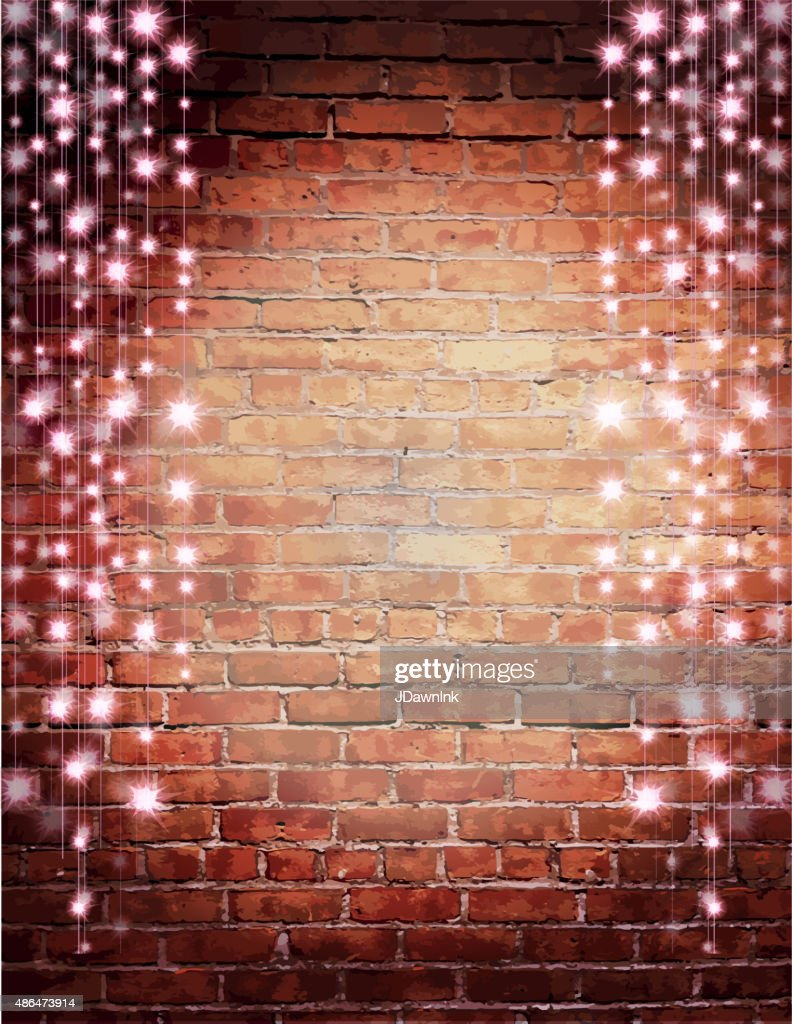 Wall String Lights For Bedroom: Rustic Old Fashioned Brick Wall With Elegant String Lights