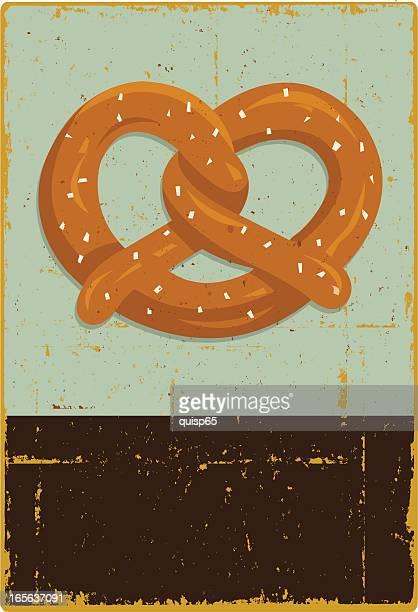 rustic pretzel sign - pretzel stock illustrations, clip art, cartoons, & icons