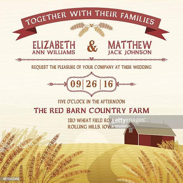 ilustraciones, imágenes clip art, dibujos animados e iconos de stock de rústico rojo barn invitación - grano planta
