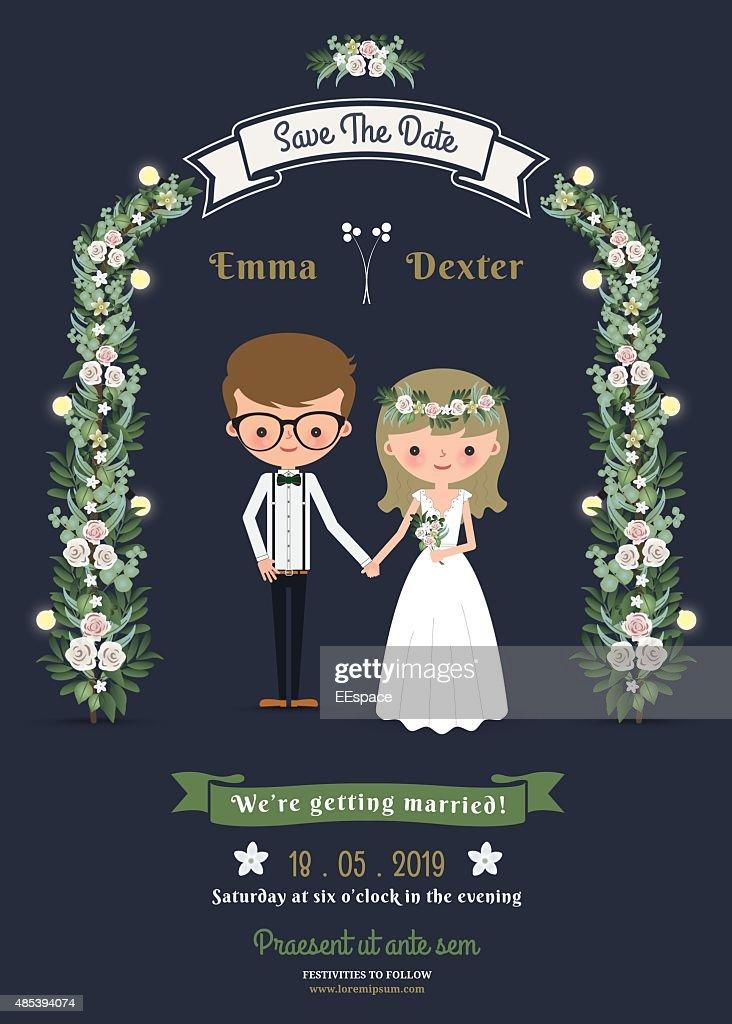 Rustic romantic cartoon couple wedding card