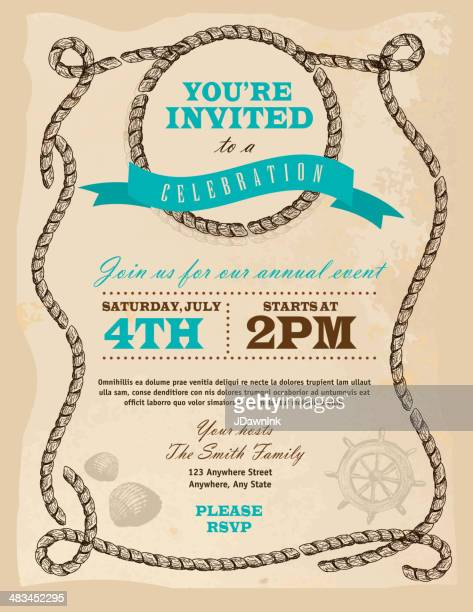 rustic rope nautical or country frame invitation design template - country and western stock illustrations