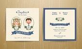 Rustic wedding cartoon bride and groom couple invitation card