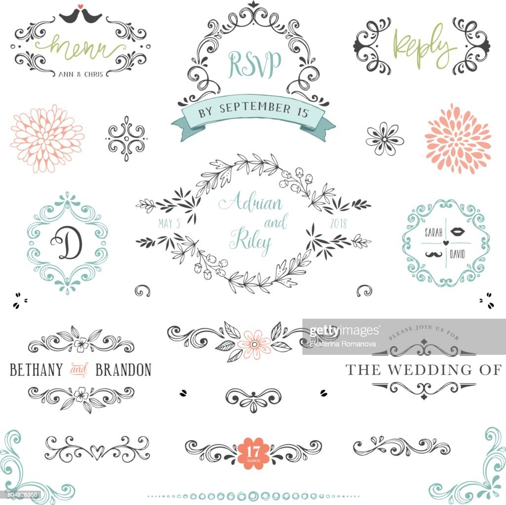 Rustic Wedding Elements04 stock vector - Getty Images