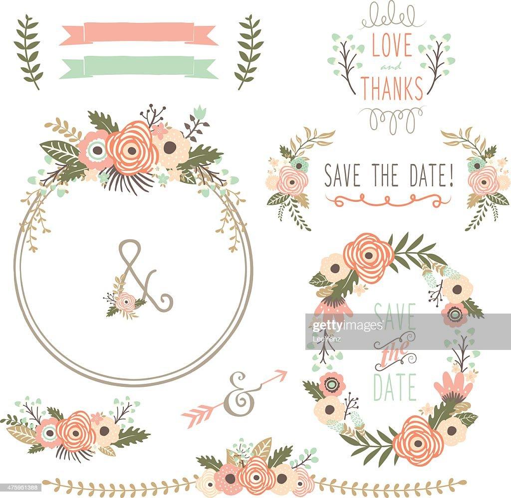 Rustic Wedding Flower Wreath- illustration