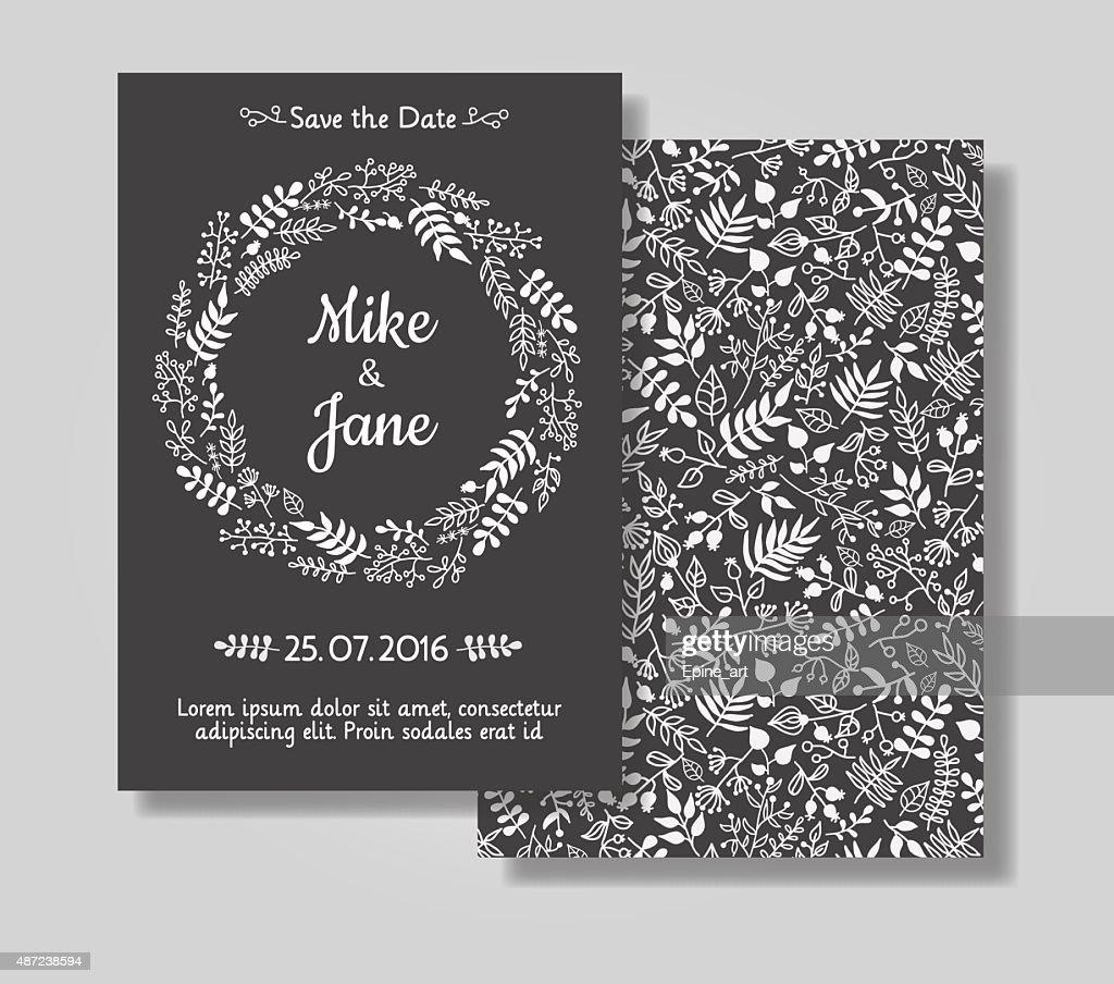 Rustic wedding invitation card set.