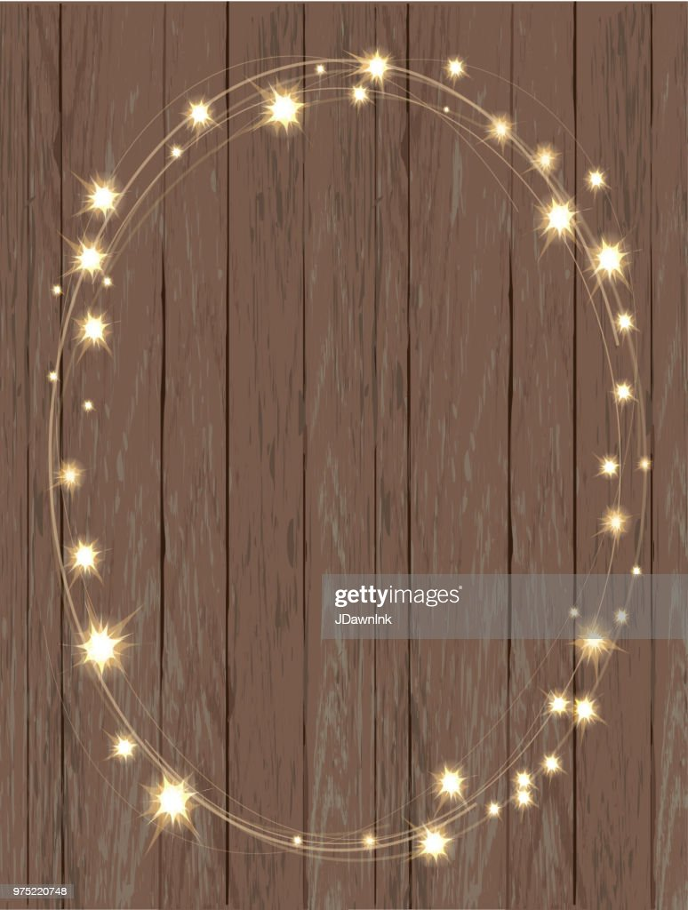 Rustic Wooden Background With String Lights In A Oval Or Wreath Pattern Vector Art