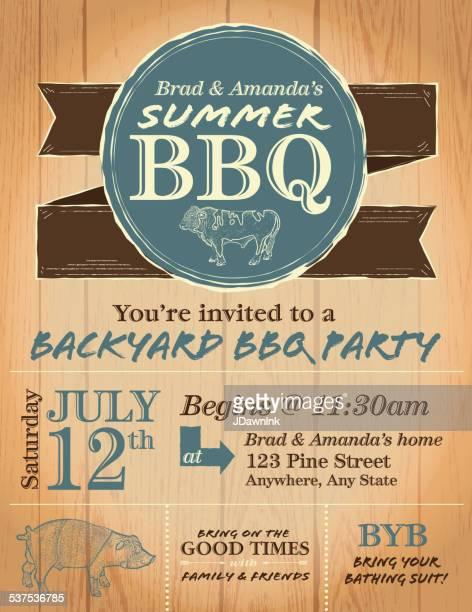 BBQ Rustic wooden barbecue invitation design template