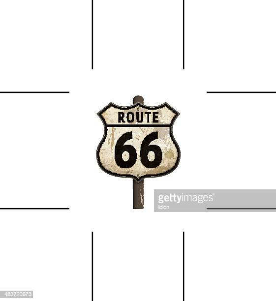rusty American route 66 road sign