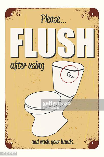 rusty and scratched metal please flush notice - toilet sign stock illustrations, clip art, cartoons, & icons