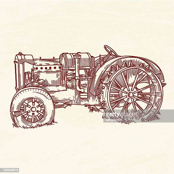 rusty old tractor - tractor stock illustrations