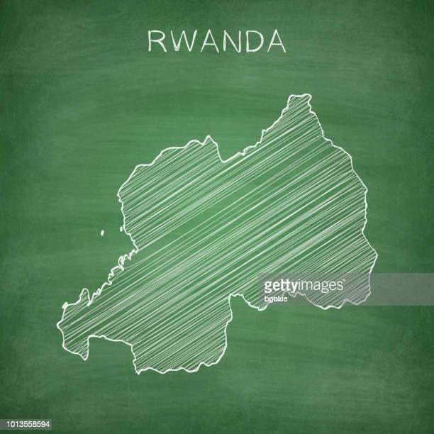 Rwanda map drawn on chalkboard - Blackboard