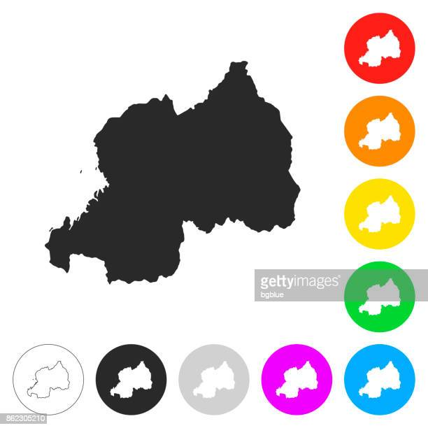Rwanda map - Flat icons on different color buttons
