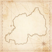 Rwanda map in retro vintage style - old textured paper