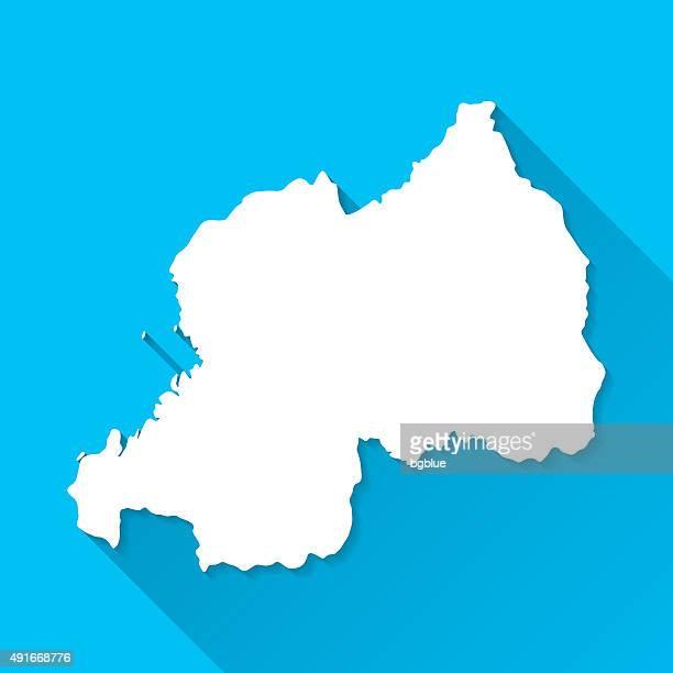 Rwanda Map on Blue Background, Long Shadow, Flat Design