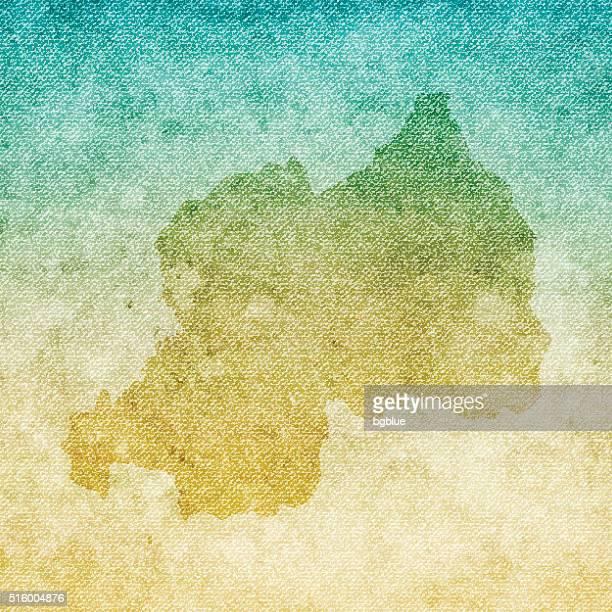 Rwanda Map on grunge Canvas Background