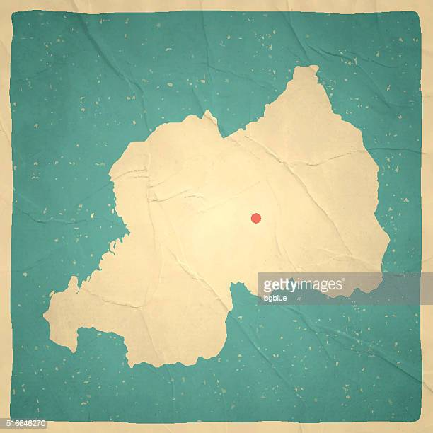 Rwanda Map on old paper - vintage texture