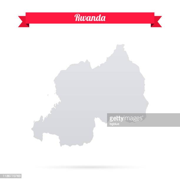 Rwanda map on white background with red banner