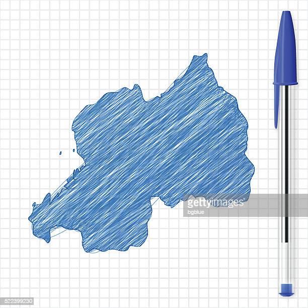 Rwanda map sketch on grid paper, blue pen