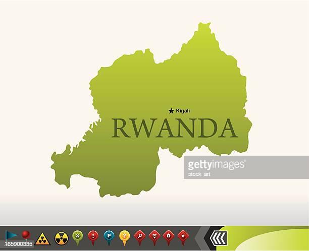 Rwanda map with navigation icons