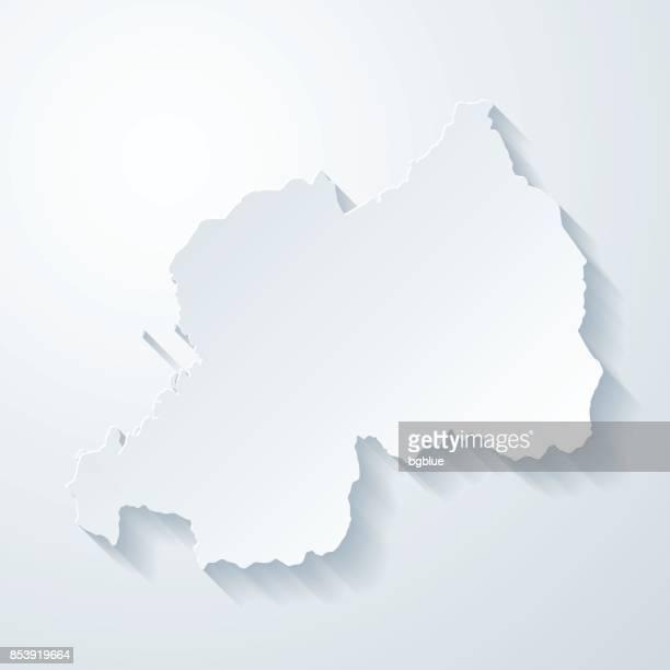 Rwanda map with paper cut effect on blank background