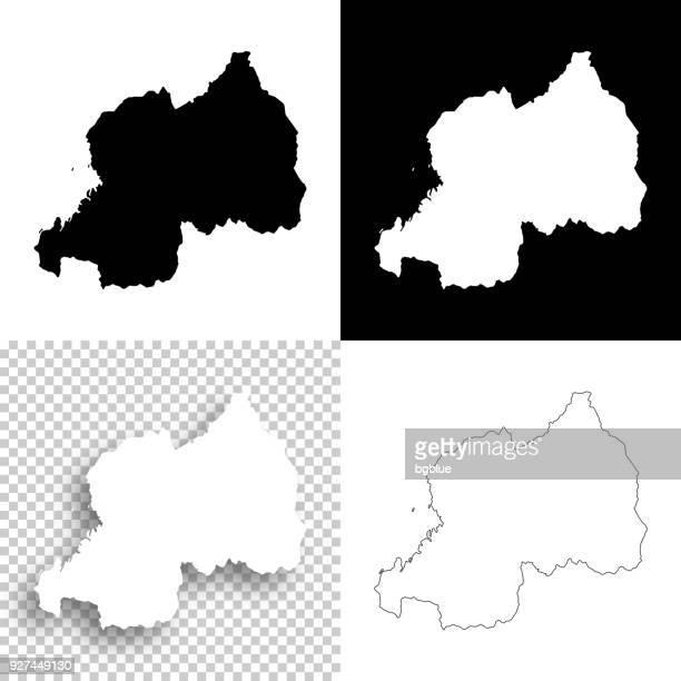 Rwanda maps for design - Blank, white and black backgrounds